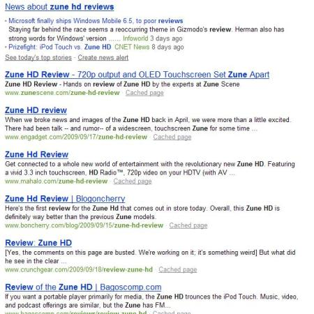 "Bing results for ""Zune HD reviews"" as of about 11 a.m. on 10/9."
