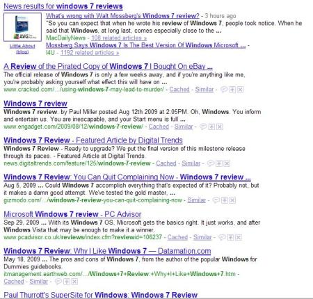 "Google results for ""Windows 7 reviews"" as of  about 11 a.m. on 10/9."