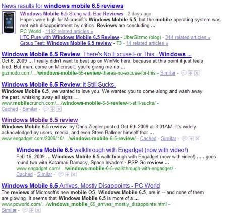 "Google's results for the query ""Windows Mobile 6.5 reviews"" as of about 11 a.m. on 10/9."